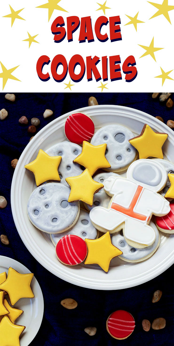 Outer-Space-Cookies---Simple-sugar-cookies-decorated-with-royal-icing--great-for-Earth-Day-and-Birthday-Parties BY thebearfootbaker.com