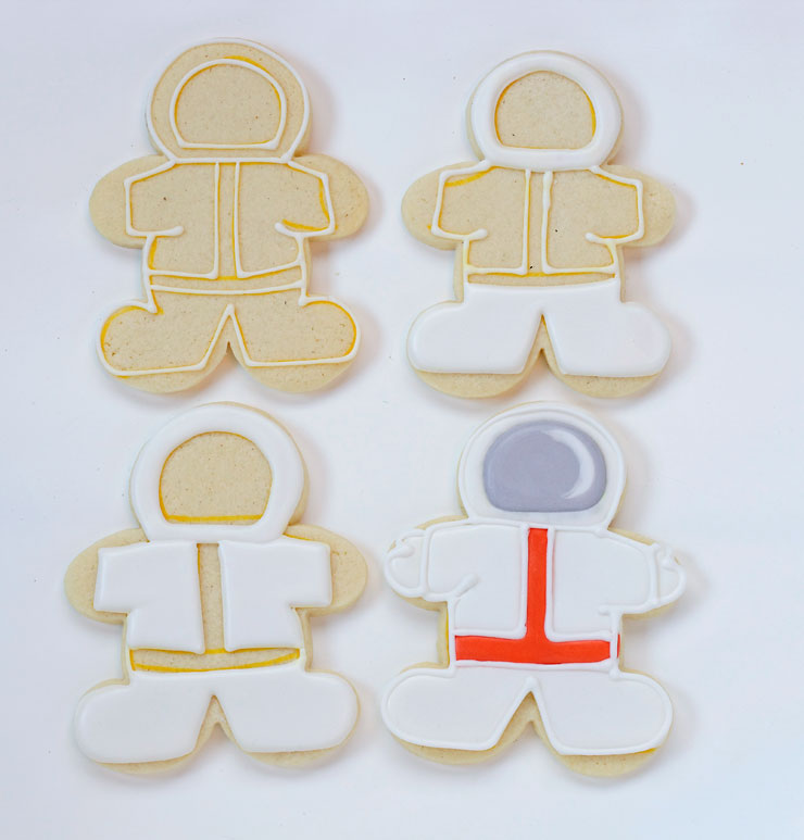 Outer Space Cookies - Simple sugar cookies decorated with royal icing- great for Earth Day and Birthday Parties via www.thebearfootbaker.com