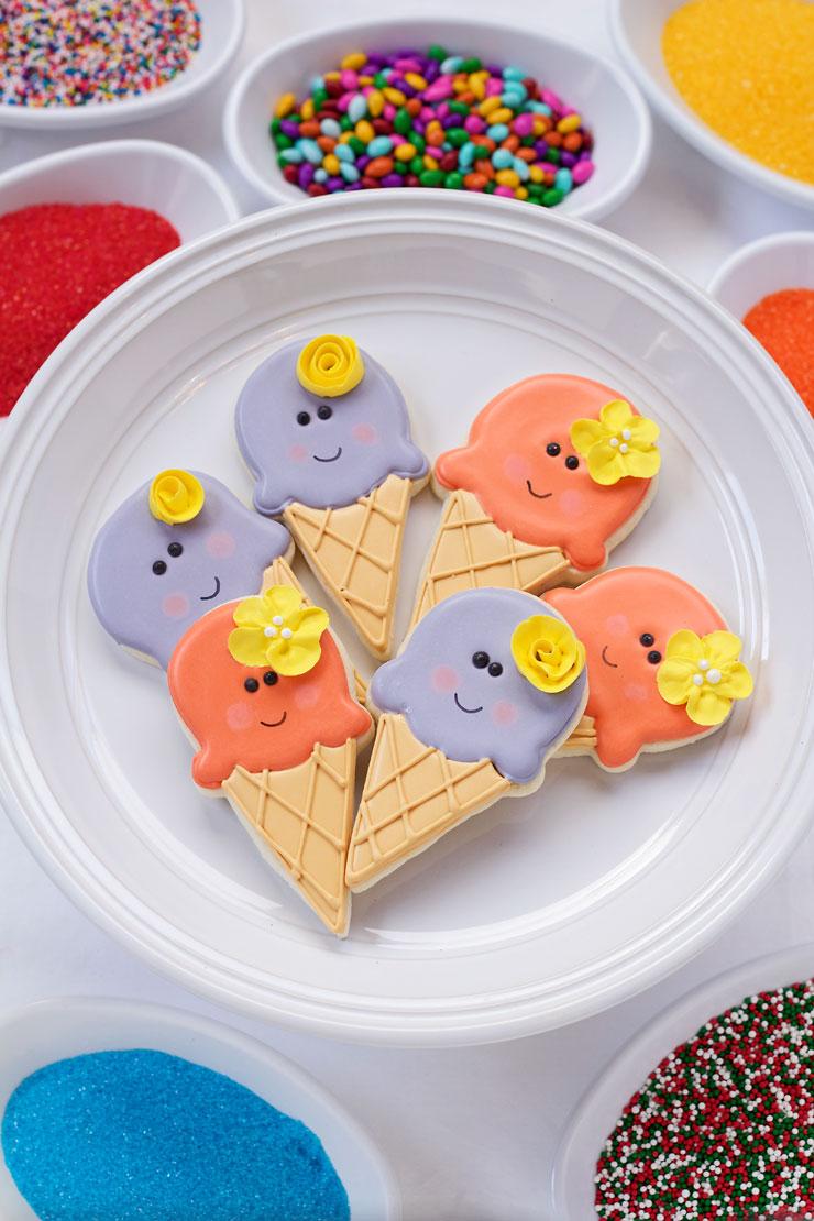 Simple Ice Cream Cone Cookies- Easy Cut Out Cookies Decorated with Royal Icing thebearfootbaker.com