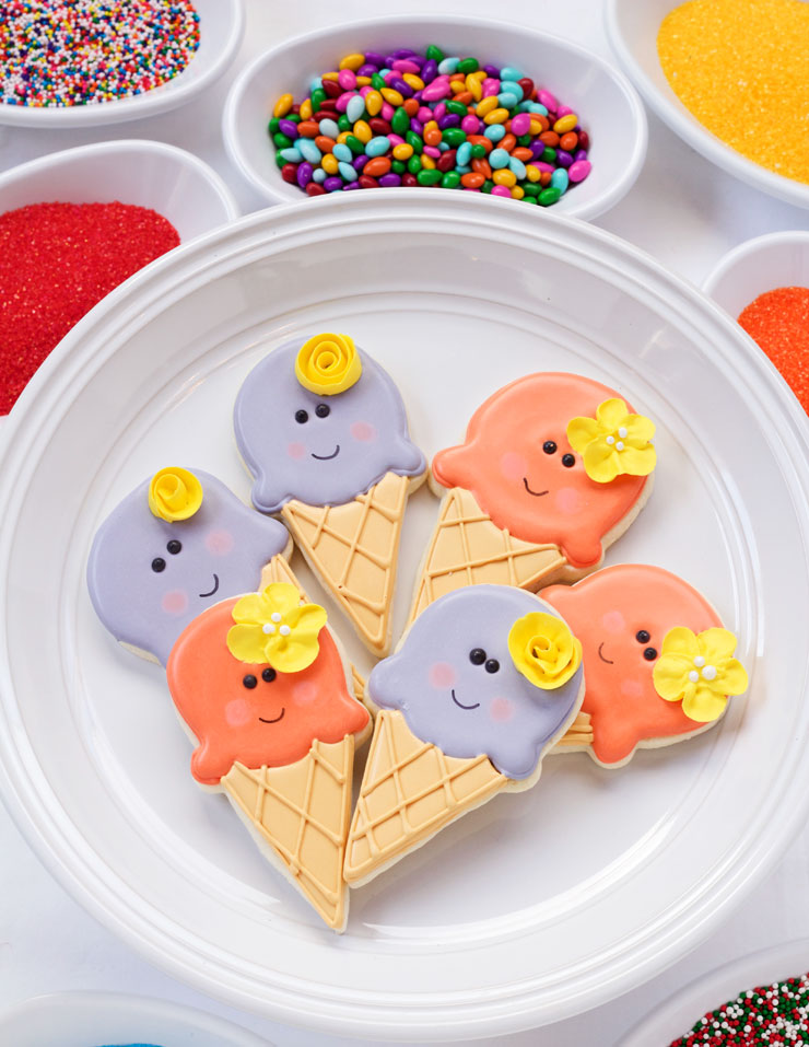 Simple Ice Cream Cone Cookies- Easy Cut Out Cookies Decorated with Royal Icing via thebearfootbaker.com