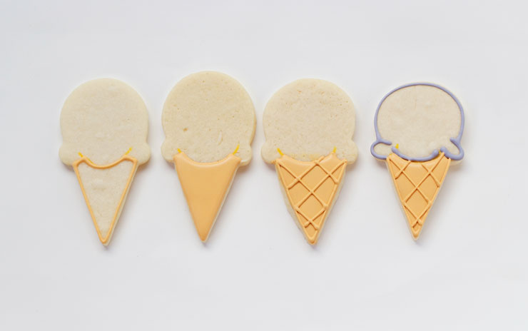Simple Ice Cream Cone Cookies- Easy Cut Out Cookies Decorated with Royal Icing via www.thebearfootbaker.com