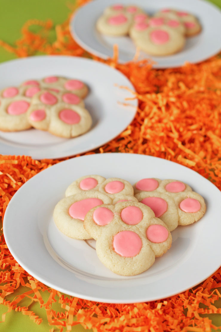 Bunny Paw Thumbprint Cookies with thebearfootbaker.com