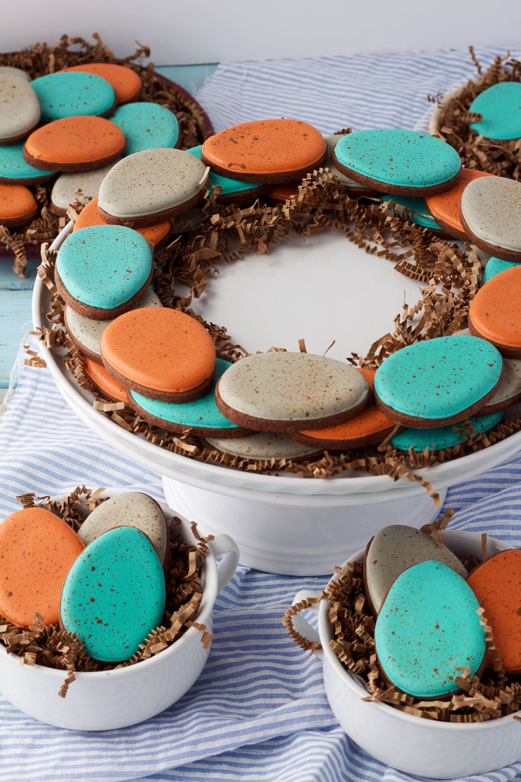 Easy Speckled Egg Cookies- Simple sugar cookies decorated with royal icing. Great Centerpiece for your Easter Table www.thebearfootbaker.com