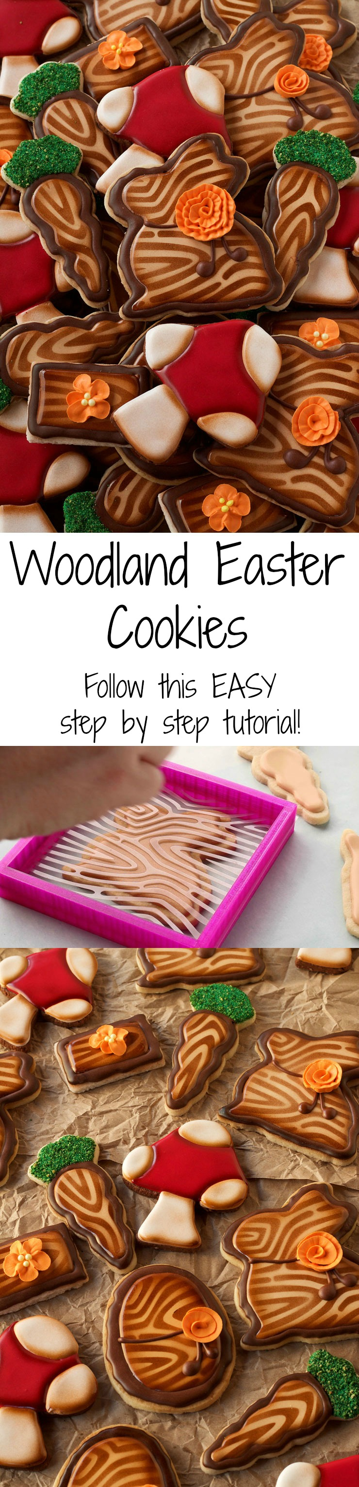 Easy Woodland Easter Cookies - Easy Step by Step Tutorial on How to Make these Sugar Cookies Decorated with Royal Icing www.thebearfootbaker.com