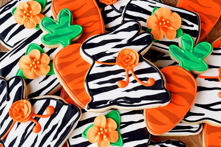 Simple Easter Cookies with a Twist or a Zebra Stripe-Sugar Cookies Decorated with Royal Icing | The Bearfoot Baker