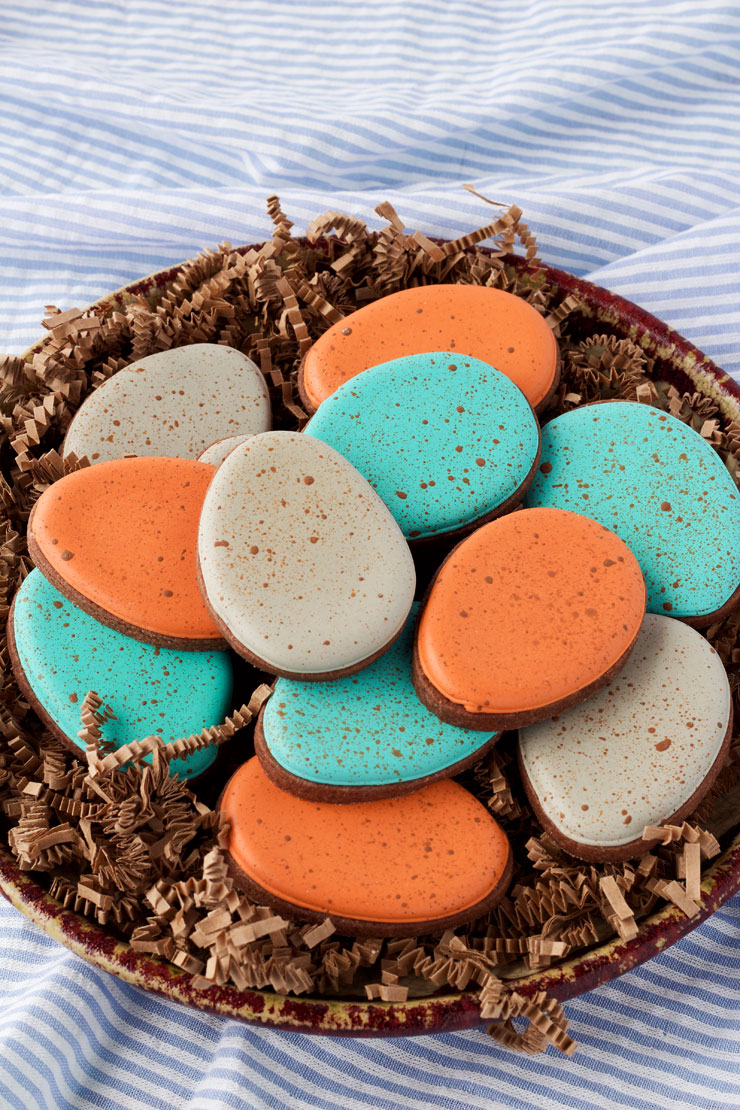 Speckled Egg Cookies- These Easy Speckled Egg Sugar Cookies are Decorated with Royal Icing and are a Great Project for Beginners via thebearfootbaker.com