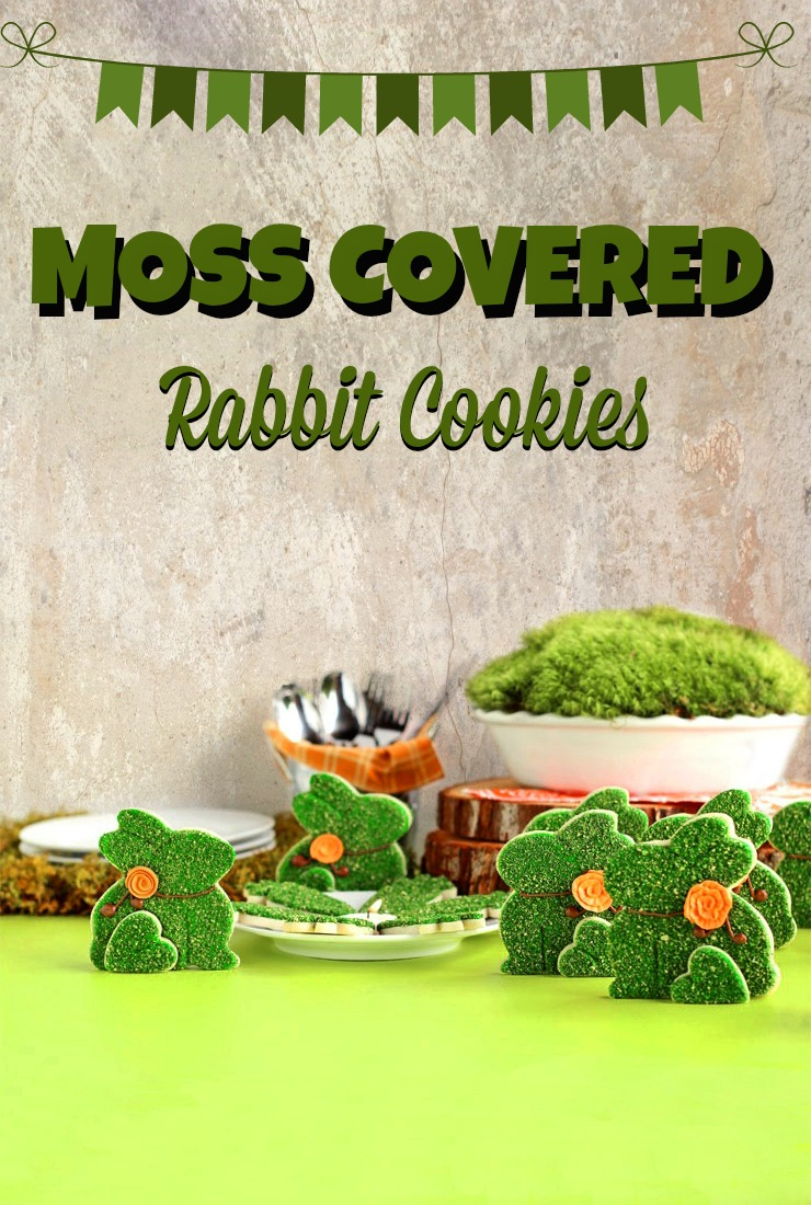 How to Make Moss Covered Rabbit Cookies with www.thebearfootbaker.com