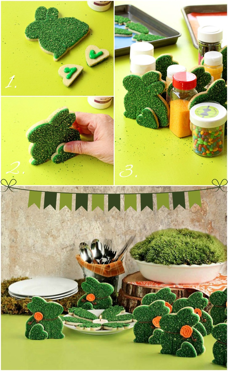 Make these Simple Moss Bunny Cookies via www.thebearfootbaker.com