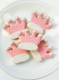 Simple Princess Crown Cookies- Sugar Cookies Decorated with Royal Icing- thebearfootbaker.com