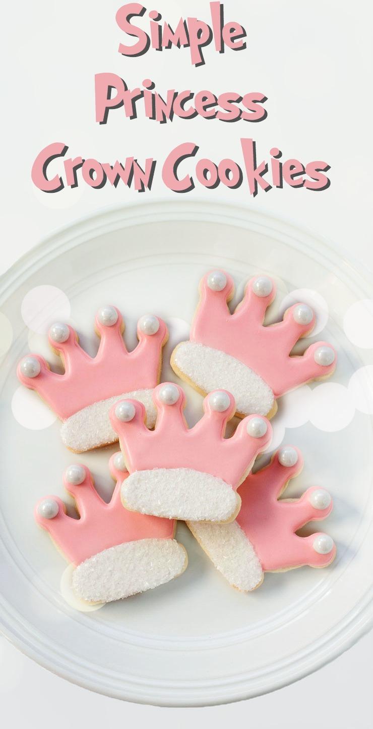 Simple Princess Crown Cookies www.thebearfootbaker.com
