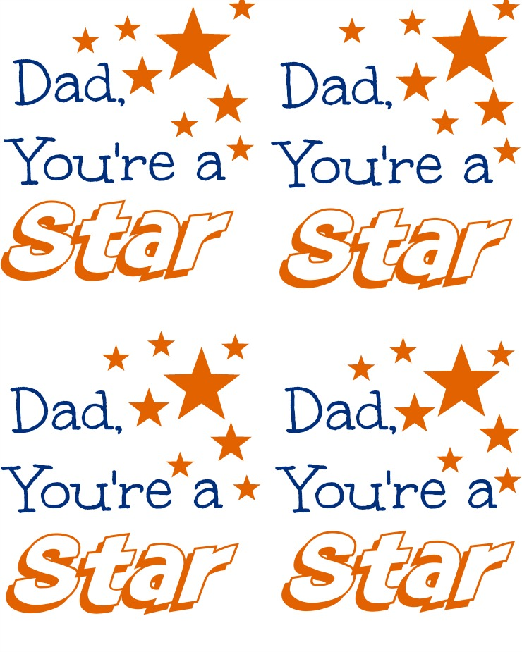 Dad You're a Star-Cookies with Free Printable Tags via www.thebearfootbaker.com