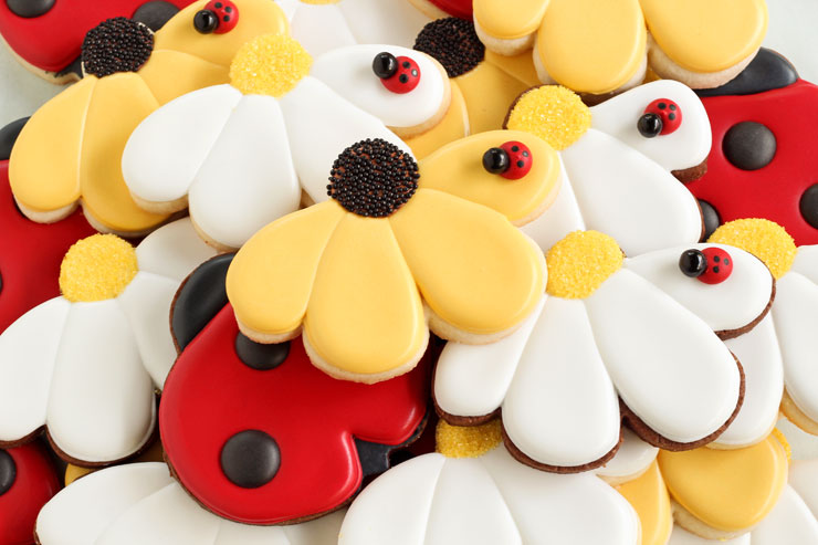 Fun Daisy Cookies - Daisy Sugar Cookies that are Decorated with Royal Icing via thebearfootbaker.com