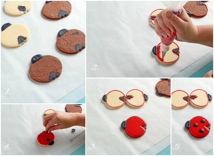 Fun Daisy Cookies with Simple Little Ladybug Cookies via www.thebearfootbaker.com
