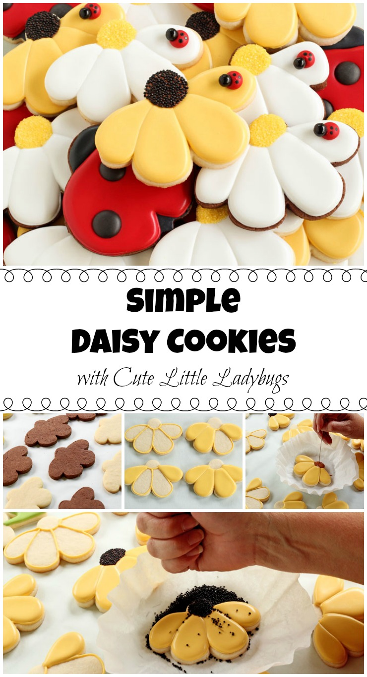 How to Make Fun Daisy Cookies with Cute Little Ladybugs via www.theebearfootbaker.com