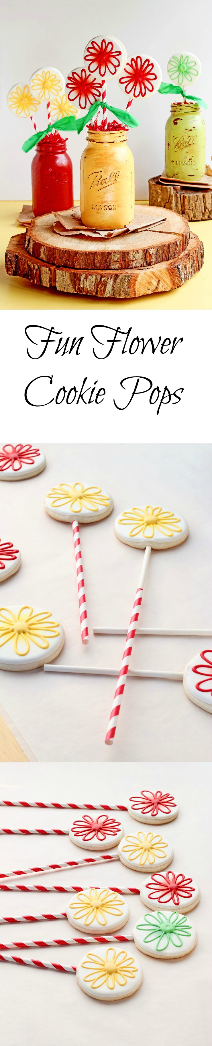 Simple Fun Flower Cookie Pops www.thebearfootbaker.com