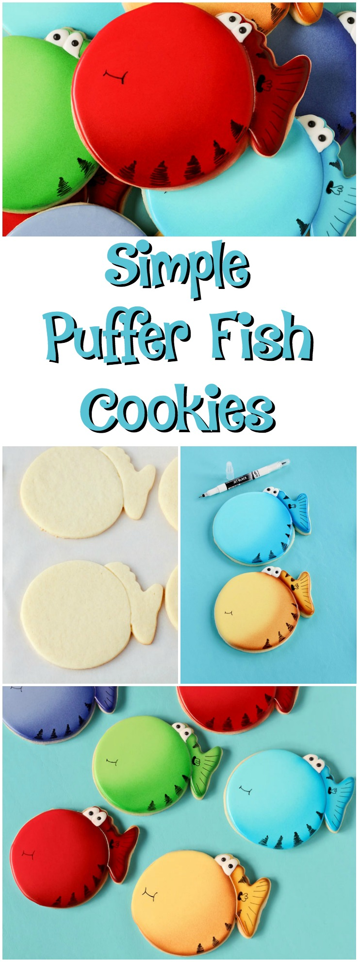 Simple Puffer Fish Cookies -Sugar Cookies Decorated with Royal Icing via www.thebearfootbaker.com