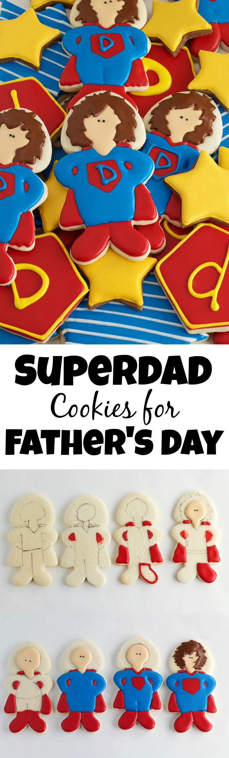 How to Make Superdad Hero Cookies for Father's Day with www.thebearfootbaker.com