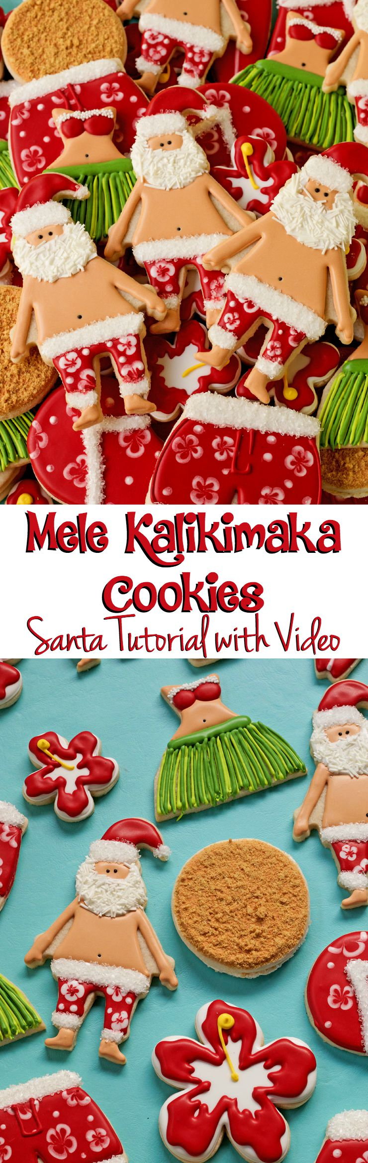 Mele Kalikimaka Cookies- Step by Step Tutorial with Video via www.thebearfootbaker.com