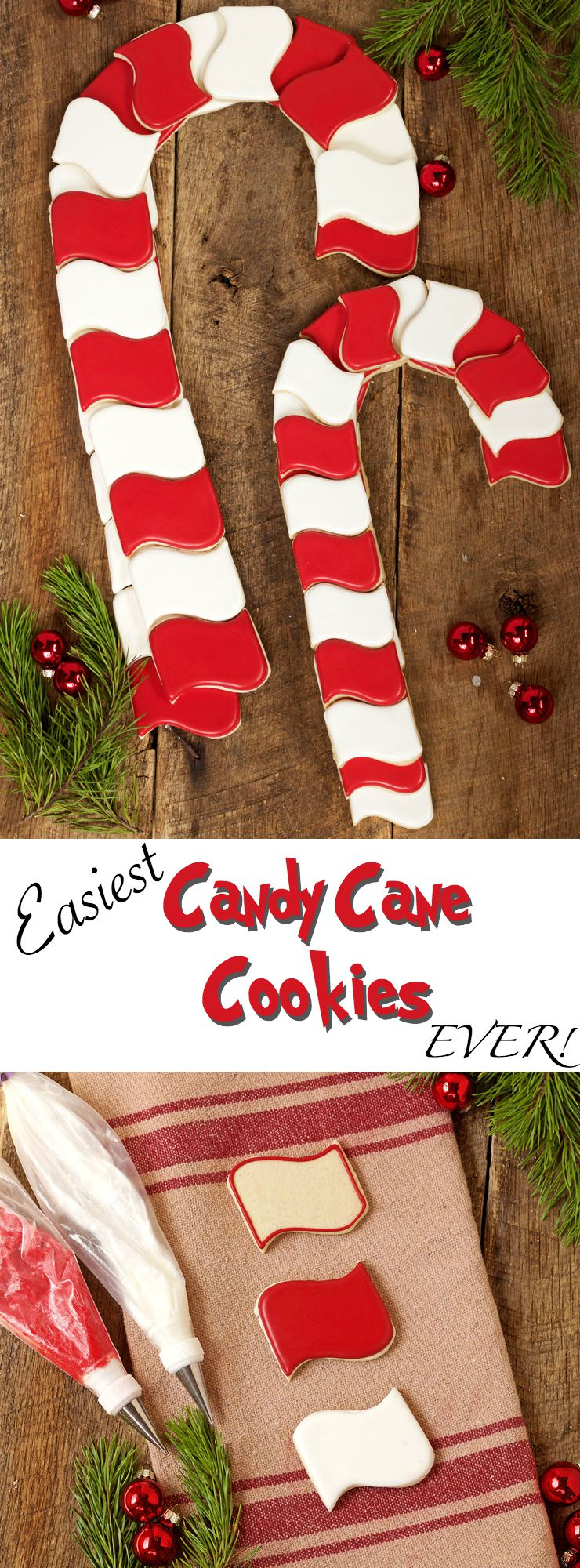 The Easiest Candy Cane Cookies Ever! Simple Christmas Cookies via www.thebearfootbaker.com