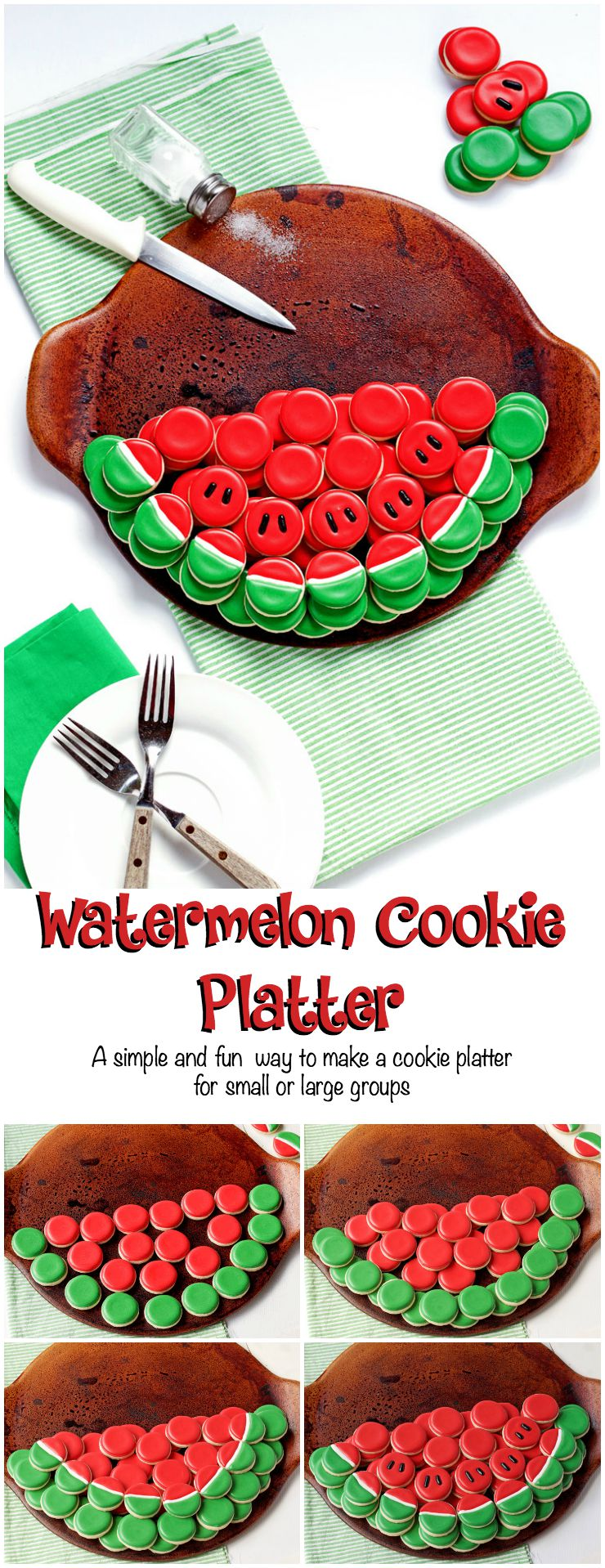A Simple and Fun Watermelon Cookie Platter For a Small or Large Group by www.thebearfootbaker.com
