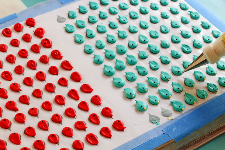 How to Make Pretty Blue Bird Royal Icing Transfers by thebearfootbaker.com