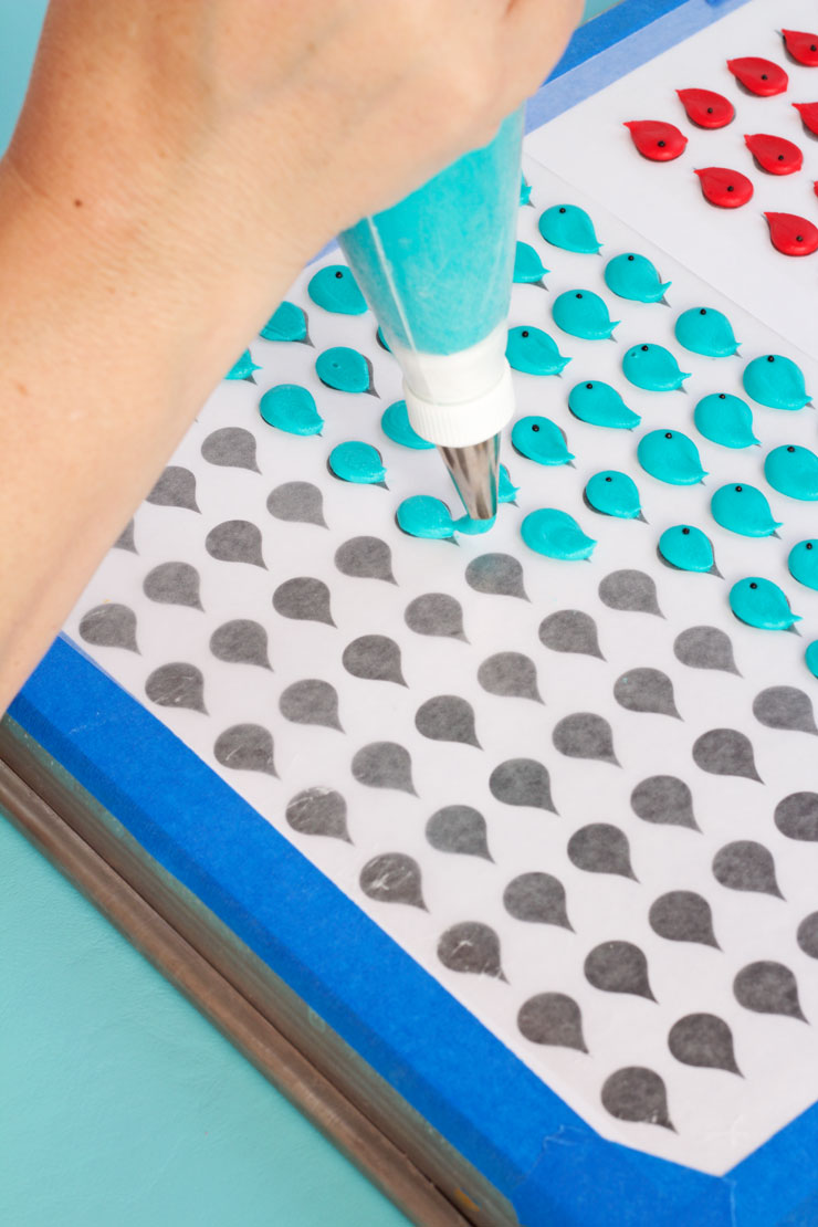 How to Make Pretty Blue Bird Royal Icing Transfers by www.thebearfootbaker.com