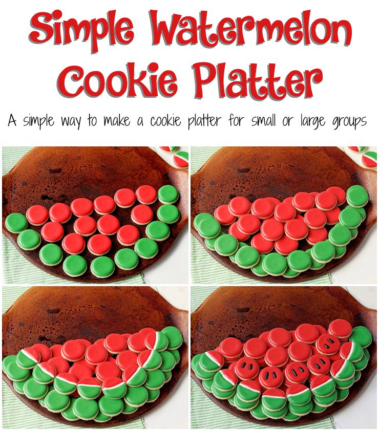 How to Make a Simple Watermelon Cookie Platter with a Video www.thebearfootbaker.com