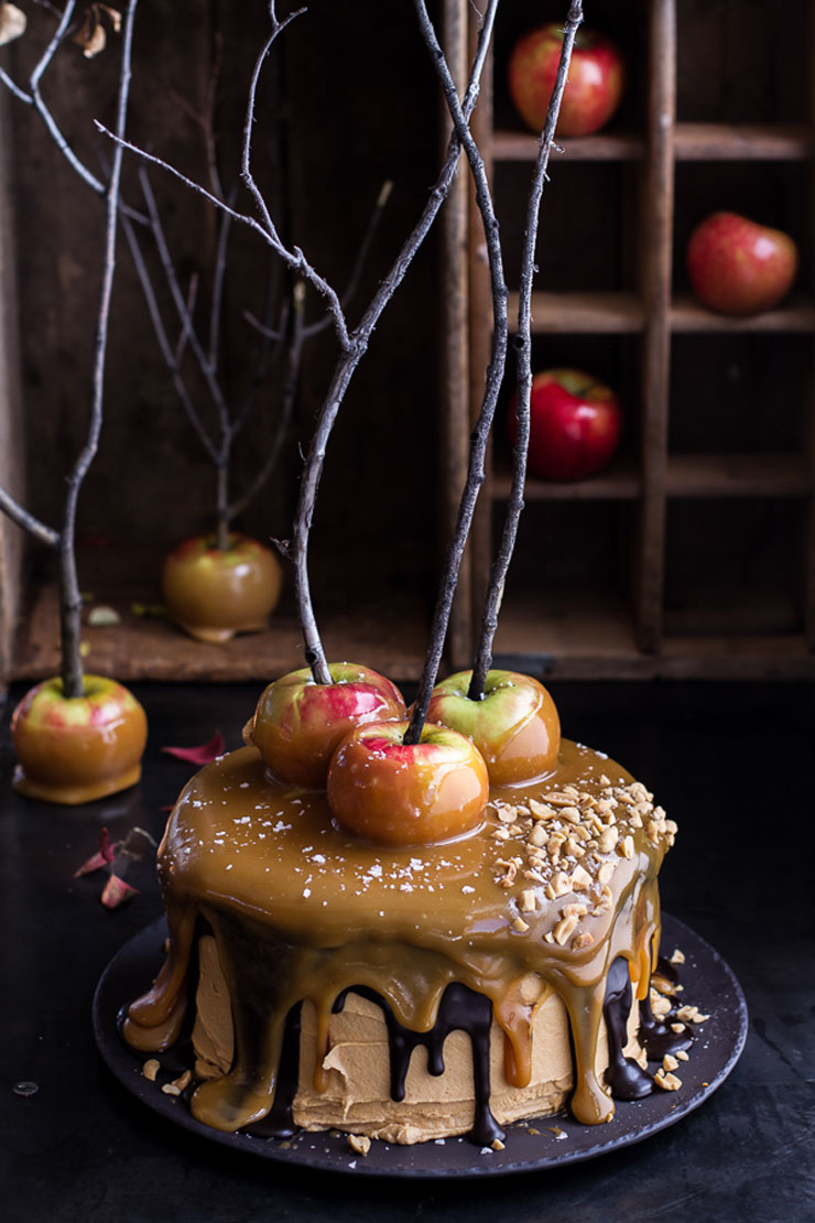 Salted Caramel Apple Snickers Cake by Half Baked Harvest