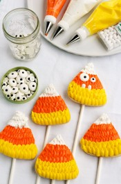 Candy Corn Cookie Pops