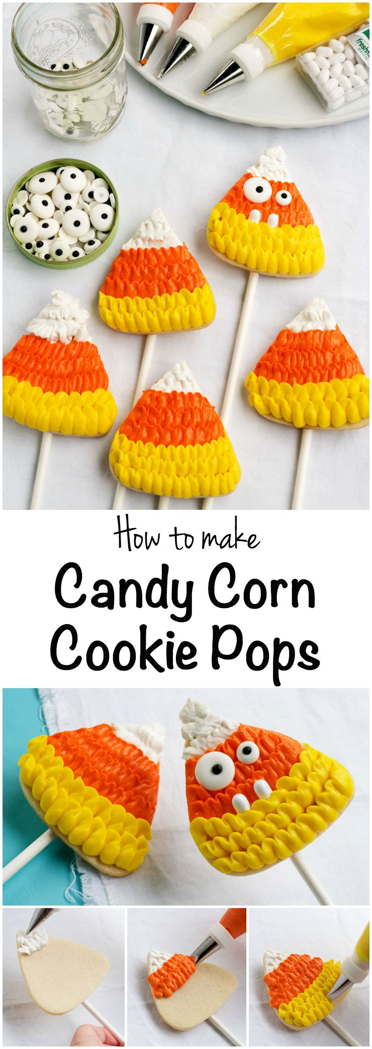 How to Make Cute Candy Corn Cookie Pops | The Bearfoot Baker