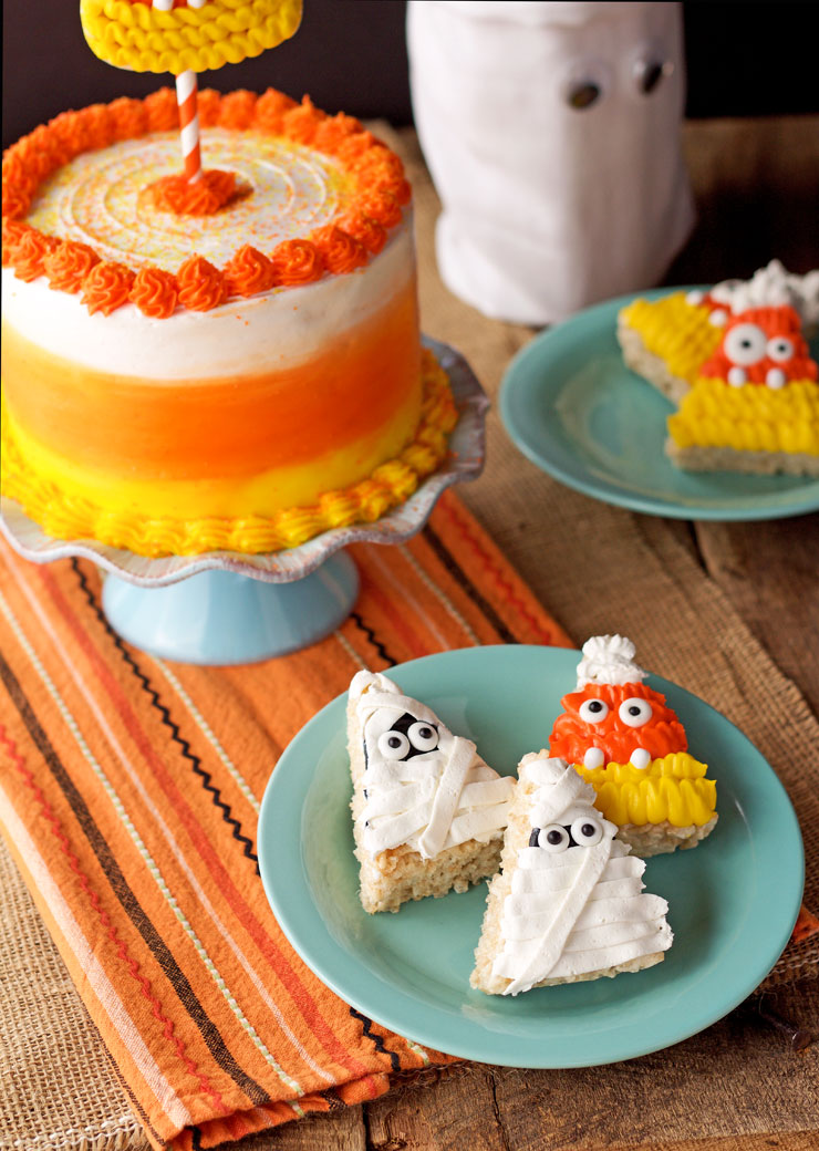 Mummy and Candy Corn Halloween Rice Krispie Treats | The Bearfoot Baker