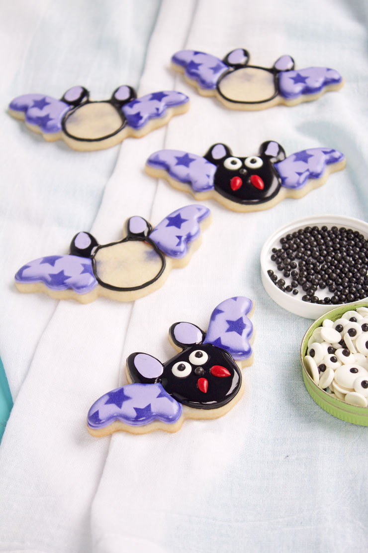 Bat Cookies with Stenciled Wings | The Bearfoot Baker