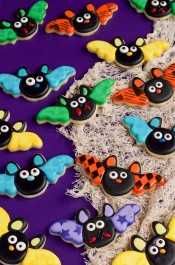 Bat Cookies with Stenciled Wings