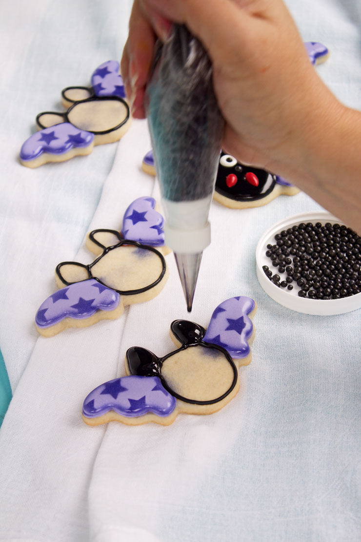 Fun Little Bat Cookies with Stenciled Wings | The Bearfoot Baker