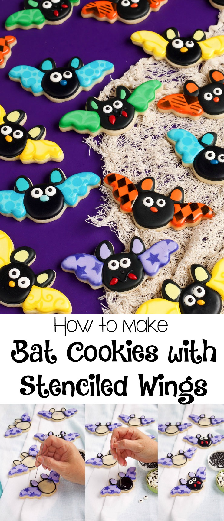 How to Make Bat Cookies with Stenciled Wings | The Bearfoot Baker