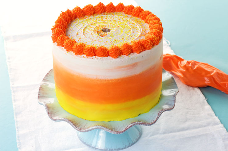 How to Make a Candy Corn Cake - Video | The Bearfoot Baker