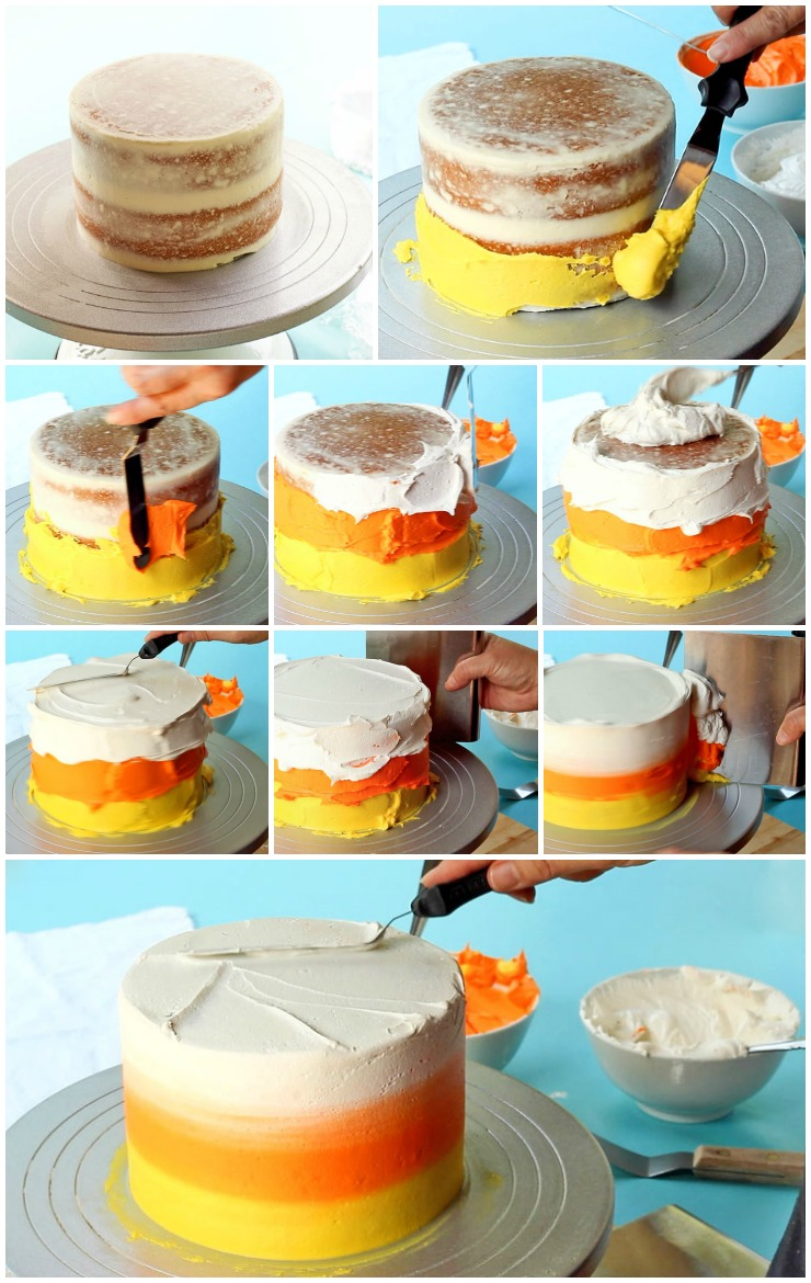 Make a Simple Candy Corn Cake with a Video | The Bearfoot Baker