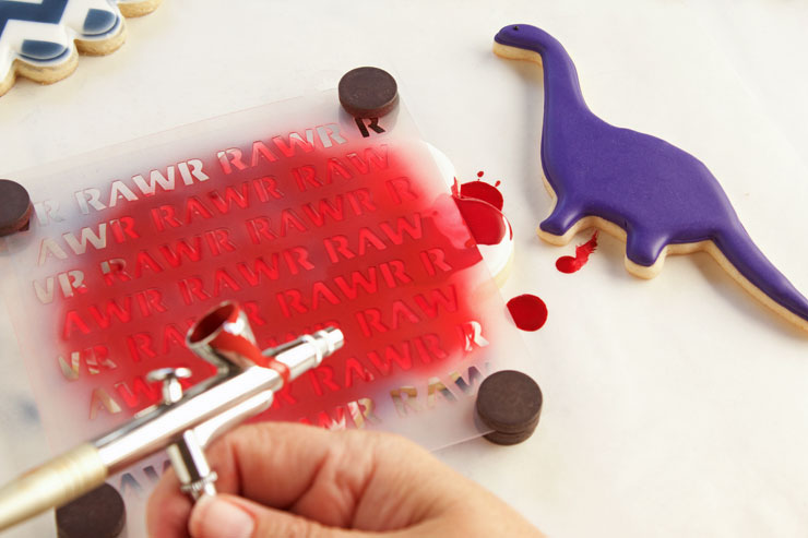 Dinosaur Cookie Massacre, When Airbrushing Goes Wrong! | The Bearfoot Baker