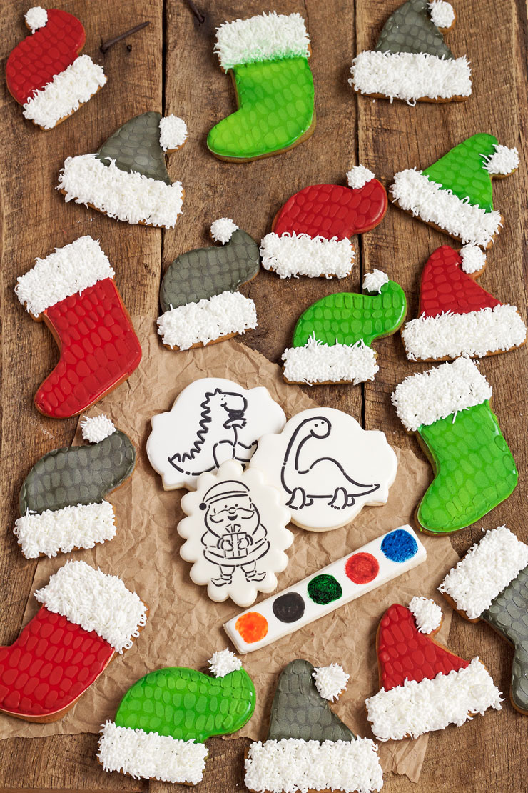 Give the Kids a Fun Project of Paint Your Own Dinosaur Christmas Cookies | The Bearfoot Baker