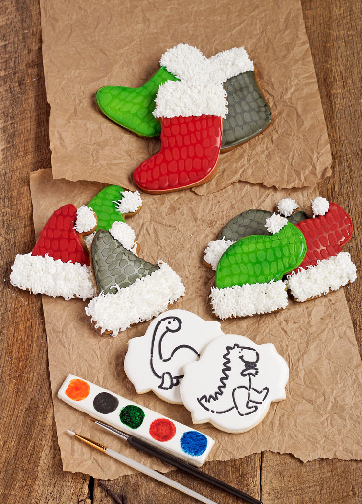 Paint Your Own Cookies in This fun Set of Dinosaur Christmas Cookies | The Bearfoot Baker