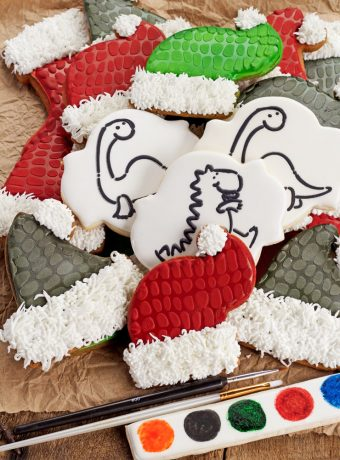 Paint Your Own Dinosaur Christmas Cookies | The Bearfoot Baker