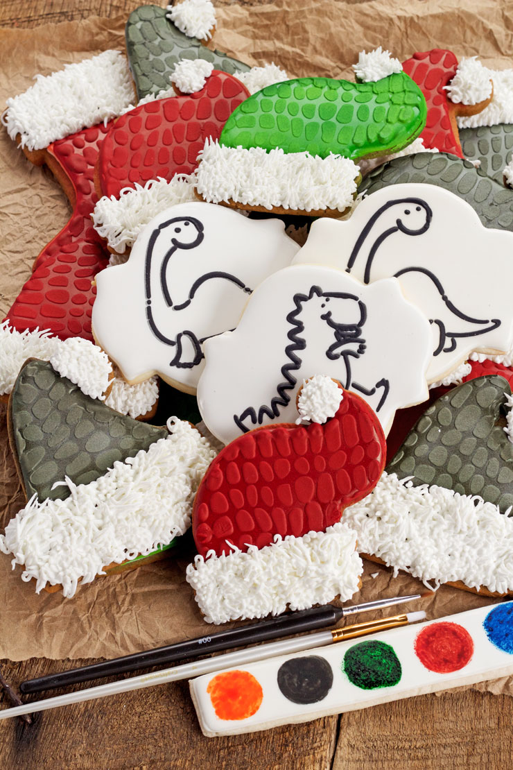 Paint Your Own Dinosaur Christmas Cookies