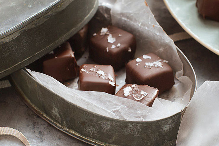 Salted Chocolate-Covered Caramels by Kraft Homemade Food Gifts for Christmas | The Bearfoot Baker
