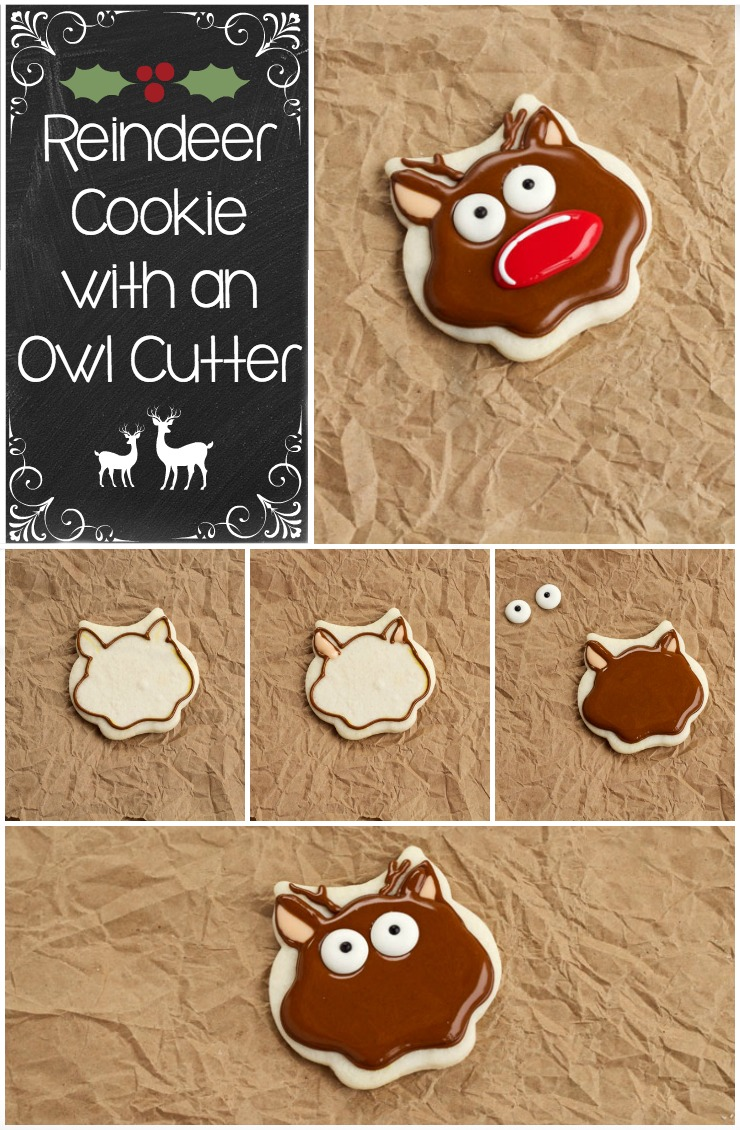 Simple Christmas Cookies-A Reindeer Cookie with an Owl Cookie Cutter | The Bearfoot Baker
