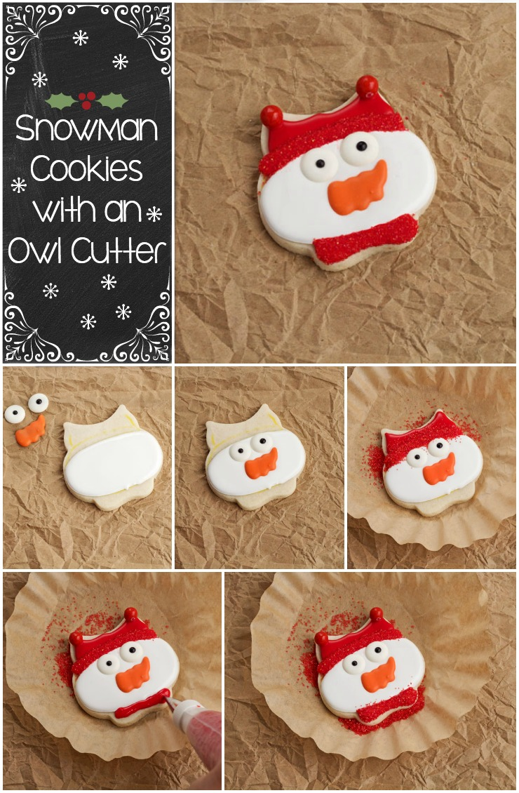Simple Christmas Cookies-Snowman Cookie with an Owl Cookie Cutter | The Bearfoot Baker