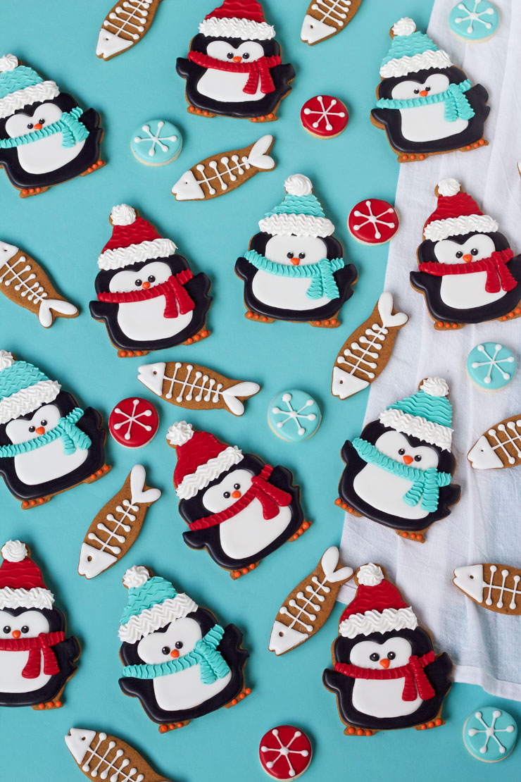 Simple Penguin Cookies with Fun Fish Cookies | The Bearfoot Baker
