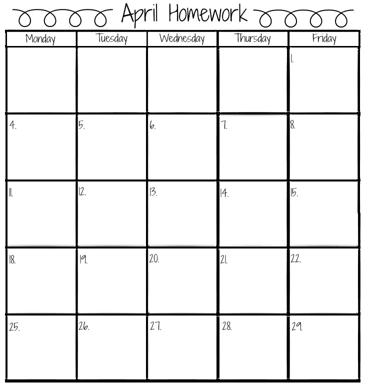 April 2016 Homework Calendar | The Bearfoot Baker