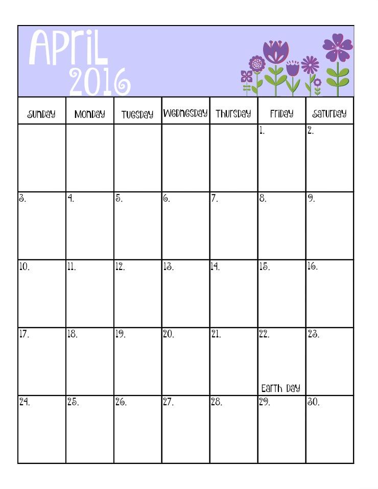 April's Free 2016 Calendar | The Bearfoot Baker