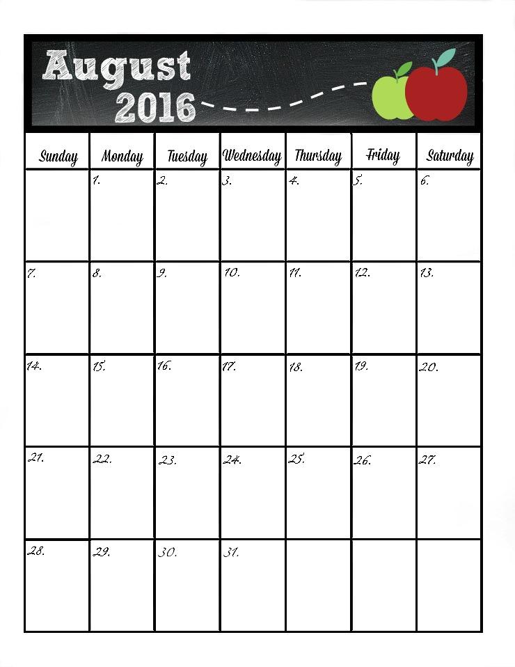 August's Free 2016 Calendar | The Bearfoot Baker