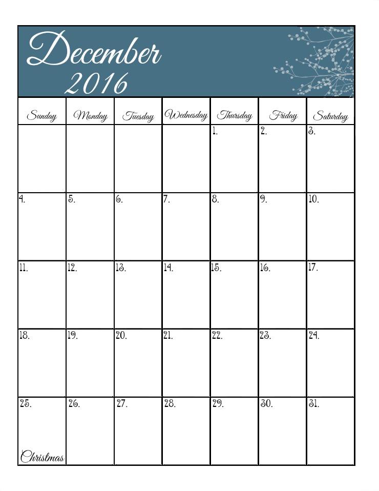 December's Free 2016 Calendar | The Bearfoot Baker